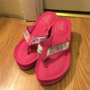 Coach pink wedge flip-flops women size 8
